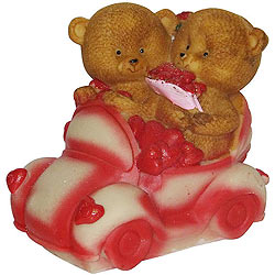 Dynamic Couple Teddy with Hearts in a Car