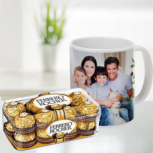 Special Personalized Coffee Mug with Ferrero Rocher Chocolates