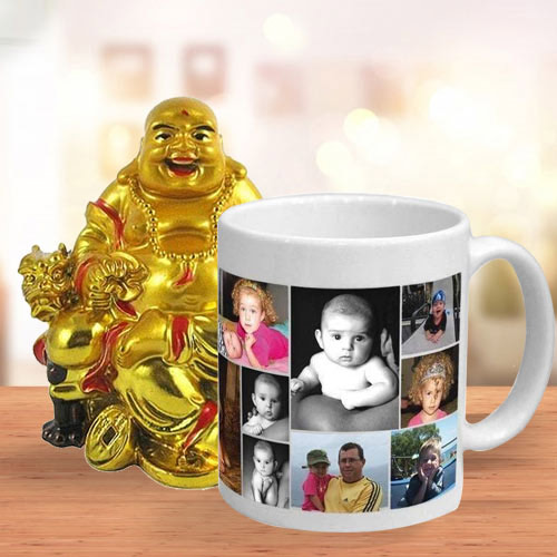 Lovely Personalized Coffee Mug with a Laughing Buddha