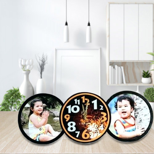 Eye Catching Personalized Table Clock with Twin Photo