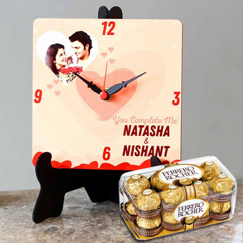 Special Personalized Photo Table Clock with Ferrero Rocher Chocolates