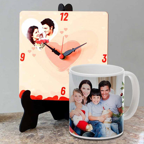 Elegant Personalized Photo Table Clock with a Personalized Coffee Mug