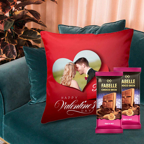 Magnificent Personalized Cushion with ITC Fabelle Chocolate Twin Bars