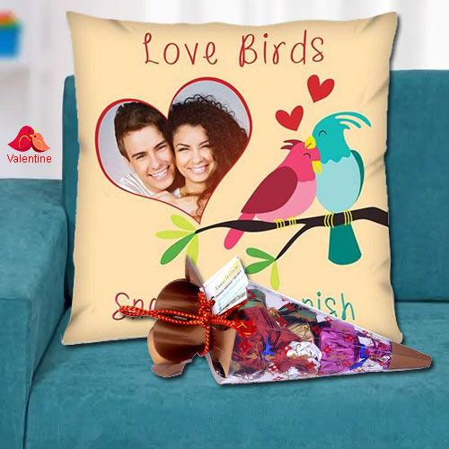 Smart Personalized Cushion with a Cone of Handmade Chocolates