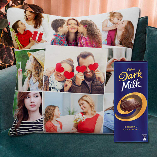 Subtle Personalized Cushion with a Cadbury Dark Milk Chocolate Bar