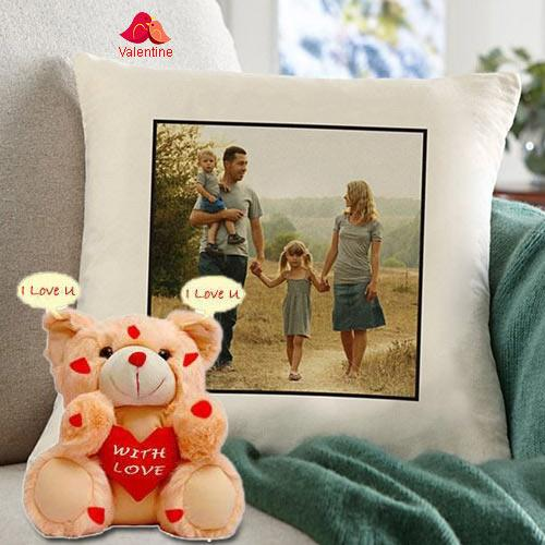 Graceful Personalized Cushion with an I Love You Singing Teddy