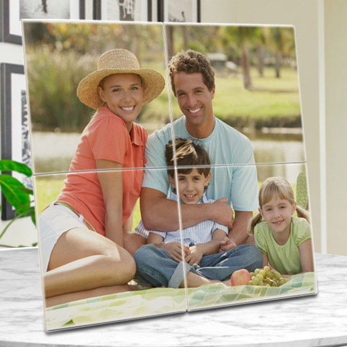 Stylish Personalized Photo 4 Tile Mural Frame