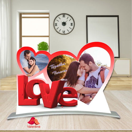 Exclusive Twin Heart Shape Personalized Photo Frame with Love Message