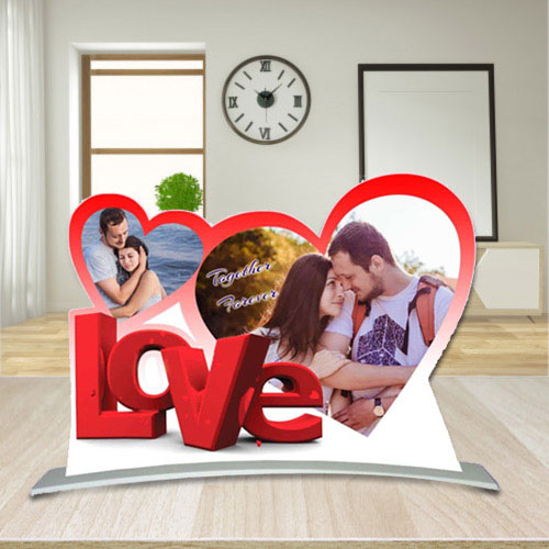 Superb Twin Heart Shape Personalized Photo Frame with Love Message