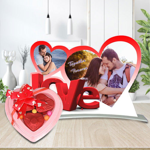 Exclusive Heart Shaped Photo Frame with Homemade Chocolates