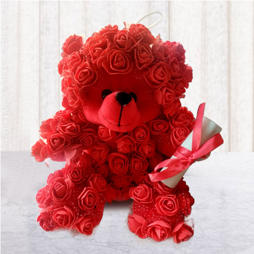 Lovely Rose Teddy with Personalized Message