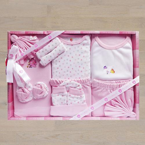 Wonderful Gift Set of Cotton Clothes for New Born Girl