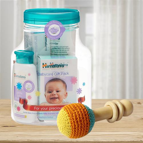Wonderful Wooden Rattle Toy with Himalaya Herbals Babycare Gift Jar