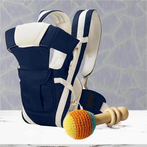 Amazing Wooden Rattle Toy with Baby Carrier Cum Kangaroo Bag 	<br>