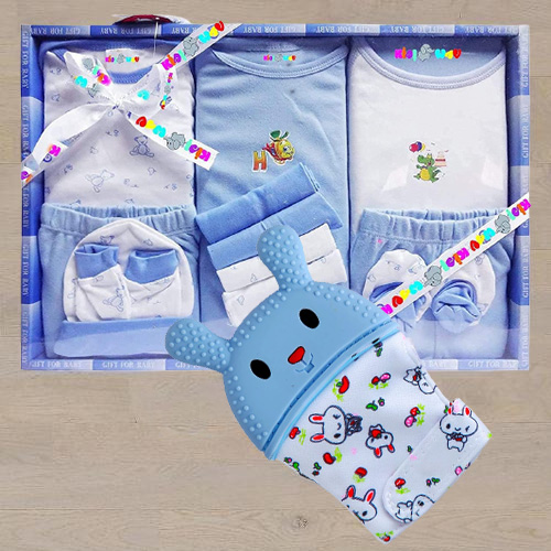 Wonderful Wishkey Silicone Teething Mitten N Cotton Clothes Set