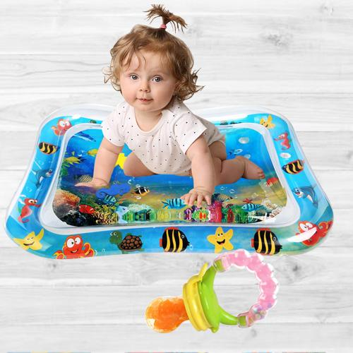 Amazing Inflatable Water Tummy Time Playmat with Food Nibbler