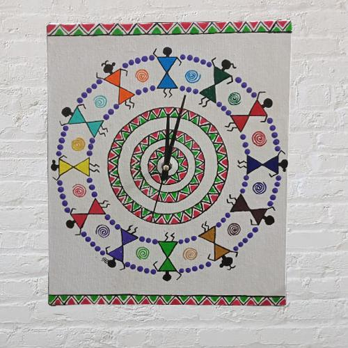 Outstanding Warli Art Wall Clock