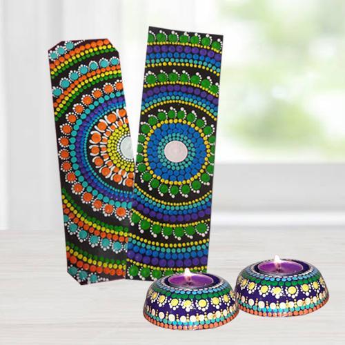 Outstanding Dot Mandala Art Handmade Gift Set of Diya n Bookmarkers