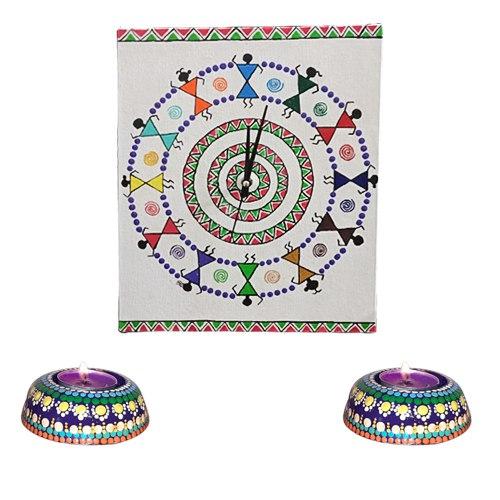 Remarkable Handmade Warli Art Wall Clock with Twin Dot Mandala Art Diya