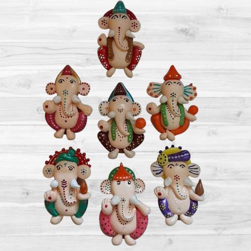 Impressive Ganesh Fridge Magnet Set of 7 pcs