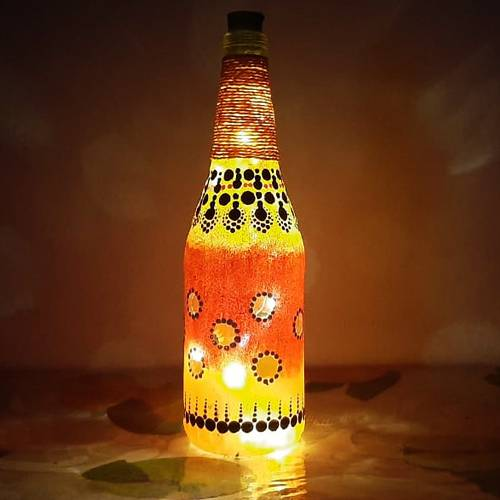 Magnificent Dot Mandala Art Bottle Lamp