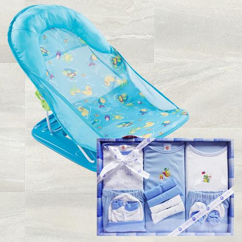 Remarkable Baby Bather N Cotton Clothes Gift Set