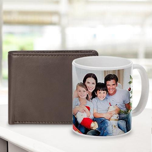 Exclusive Personalized Photo Coffee Mug with Rich Borns Brown Leather Wallet for Men
