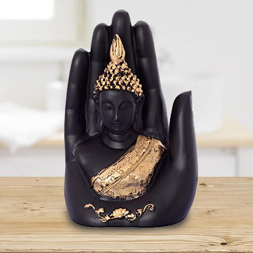 Pious Golden Handcrafted Palm Buddha