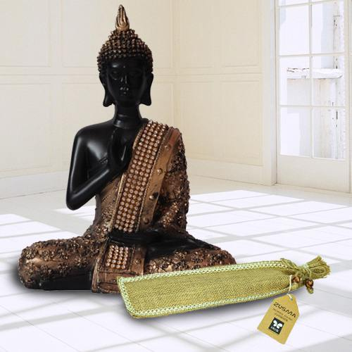 Pious Meditating Lord Buddha Idol N Incense Stick in Ash Catcher