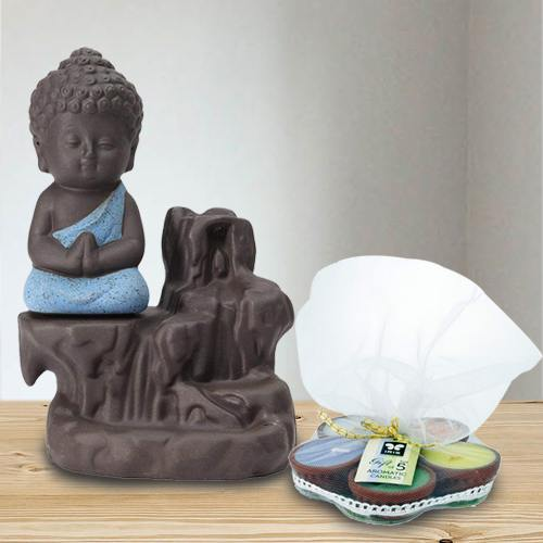 Exclusive Meditating Monk Buddha N Incense Holder with Iris Aroma Candles