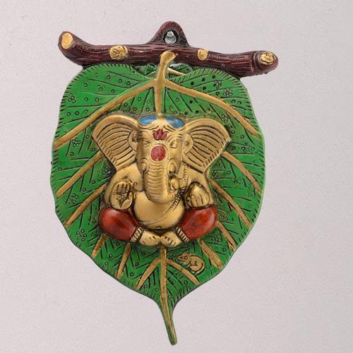 Marvelous Lord Ganesha on Leaf for Wall Decor
