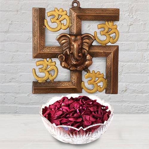 Pious Ganesha N Om Wall Hanging with Iris Potpourri