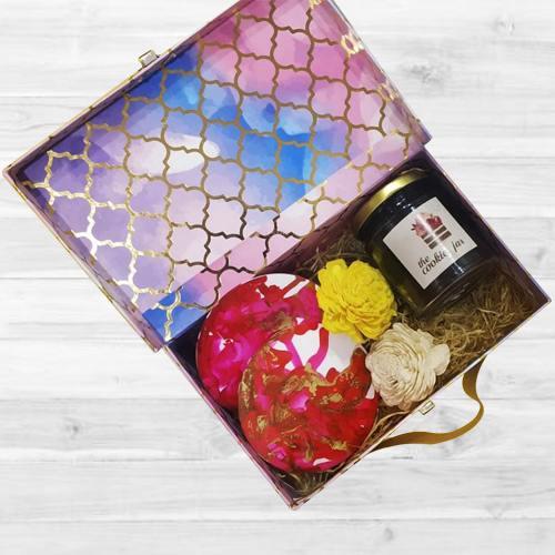 Outstanding Box of Coasters, Flowers N Chocolates Jar