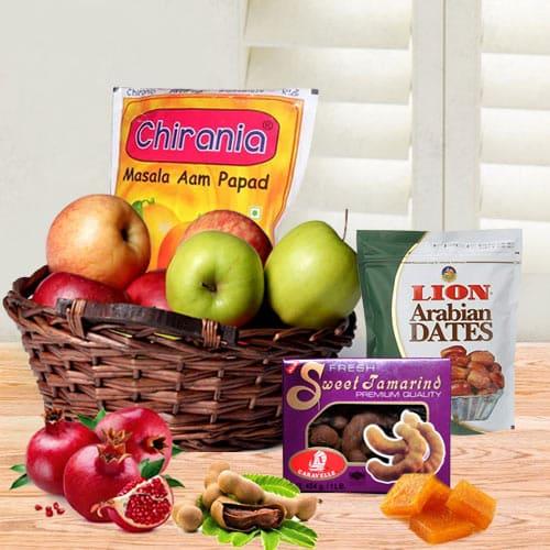 Mesmerizing Fruit N Gourmet Hamper