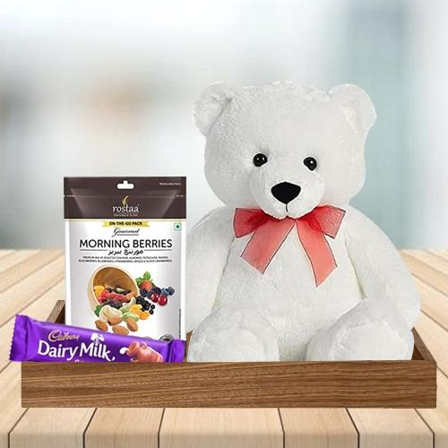 Exquisite Chocolate, Berries N Teddy Combo for Birthday