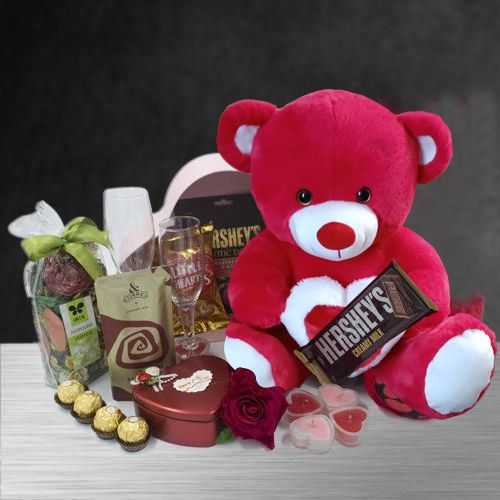 Luxurious Candle Lit Romantic Evening Hamper with Teddy n Imported Chocolates