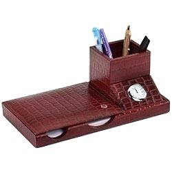 3 pcs Desktop Accessories Set made of genuine leather from Leather Talk