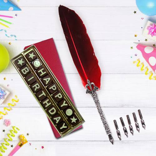 Exclusive Calligraphy Quill Set with Handmade Chocolates