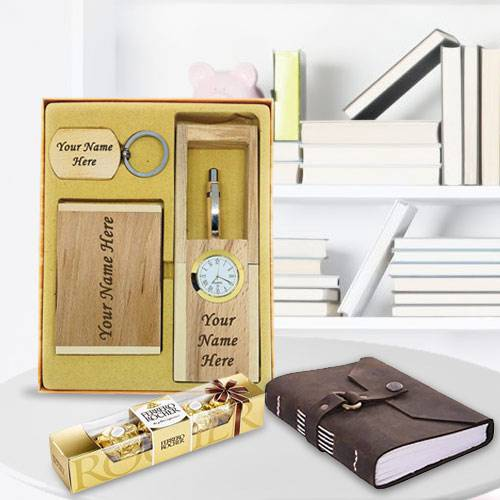 Fabulous Personalized Wooden Office Stationery Set