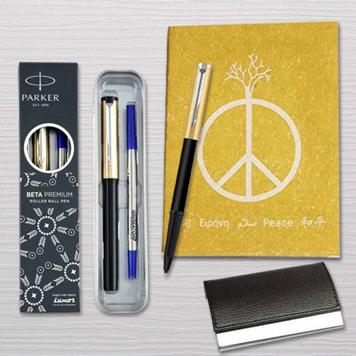 Marvelous Parker Pen with Diary Planner and Visiting Card Holder
