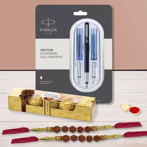 Classic Parker Pen with Rudraksha Rakhi N Ferrero Rocher