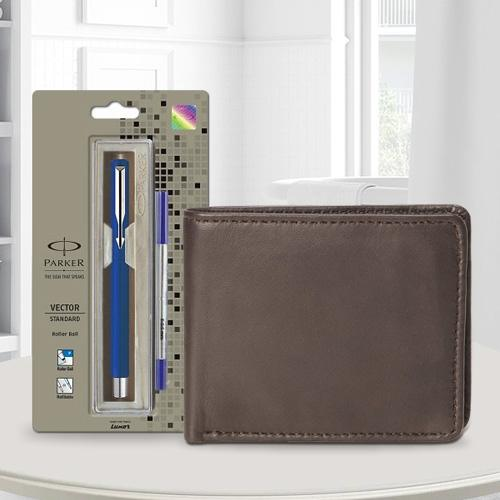 Impressive Parker Vector Standard Ball Pen with a Brown Leather Wallet