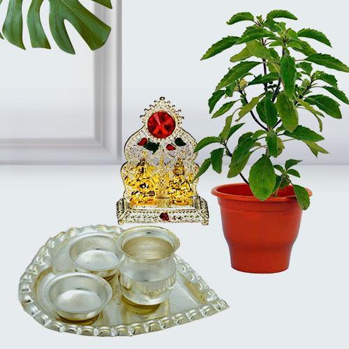 Evergreen Tulsi Plant with Ganesh Laxmi Mandap N Puja Thali