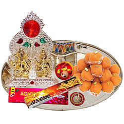 Marvelous Ganesh Lakshmi Idols with Silver Plated Thali and Pure Ghee Ladoo