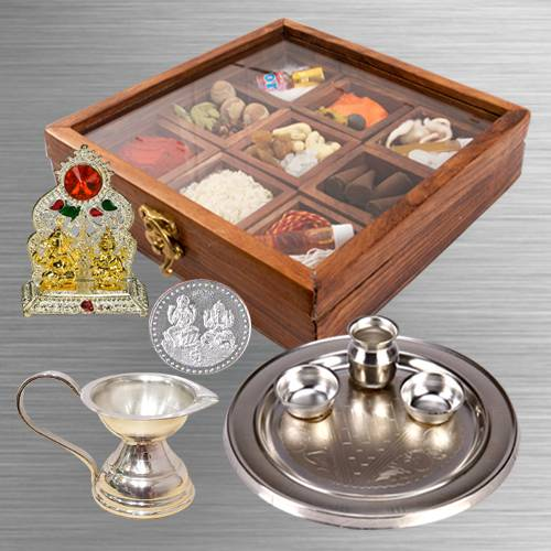 Exquisite Puja Hamper in Wooden Box
