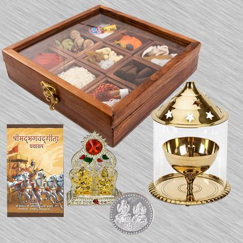 Wonderful Housewarming Puja Gift in Wooden Box