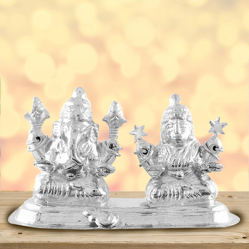 Marvelous Silver Plated Laxmi Ganesh Idol