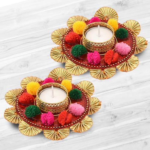 Wonderful Dual Set of Mix Color Flower Design Diya