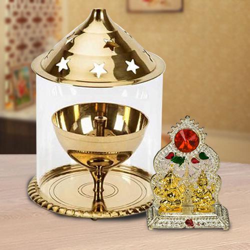 Impressive Combo of Akhand Diya in Borosilicate Glass N Ganesh Laxmi Mandap<br>