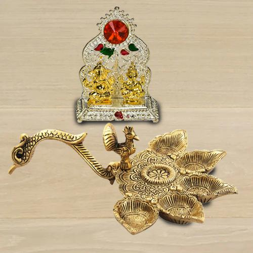 Wonderful Antique Diya with Ganesh Laxmi Mandap